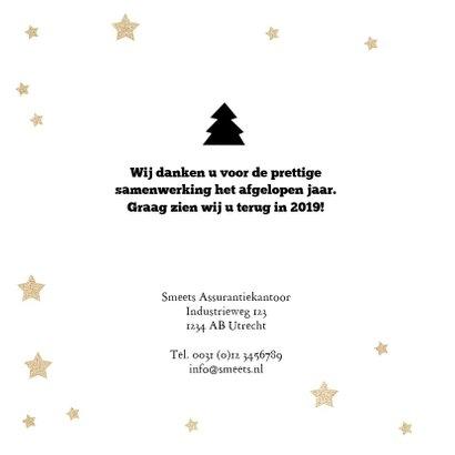 Zakelijke kerstkaart 2019 met tekstslingers, sterren en logo 2