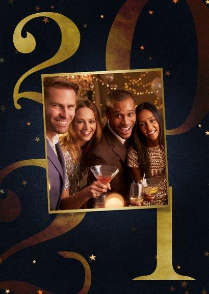 Zakelijke kerstkaart 2021 goud met sterren fijne feestdagen 2