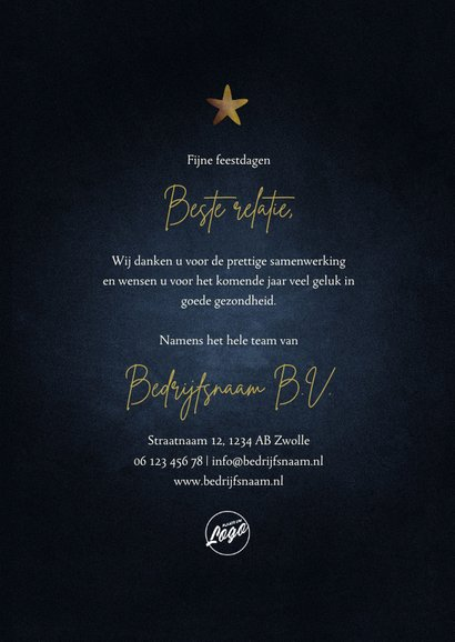 Zakelijke kerstkaart 2021 goud met sterren fijne feestdagen 3