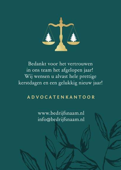 Zakelijke kerstkaart advocatuur stijlvol goud weegschaal 3
