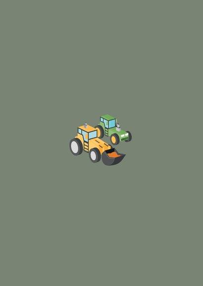 Zakelijke kerstkaart agrarisch tractor graafmachine Achterkant