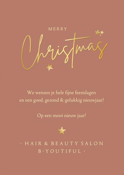 Zakelijke kerstkaart beauty art-deco zalmroze met goud 3