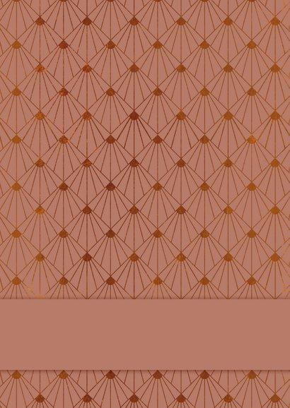 Zakelijke kerstkaart beauty art-deco zalmroze met goud Achterkant
