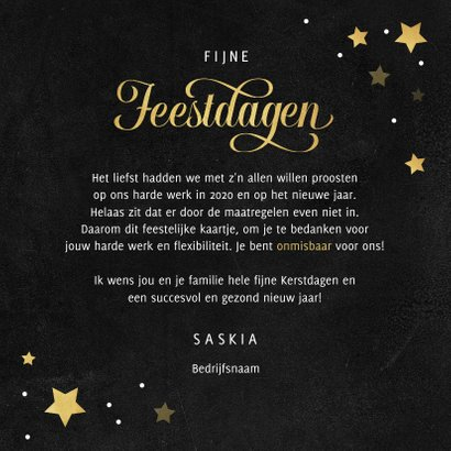 Zakelijke kerstkaart bedankt goud krijt sterren medewerker 3