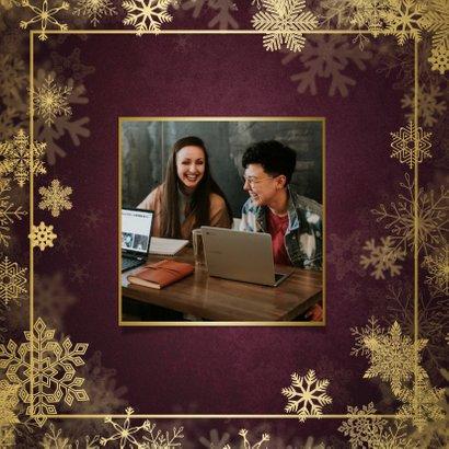 Zakelijke kerstkaart best wishes bordeaux met goudlook kader 2