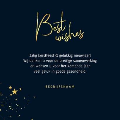 Zakelijke kerstkaart best wishes stijlvol goud spetters 3