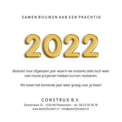 Zakelijke kerstkaart bouw met jaartal 2022 met bouwhelm  3