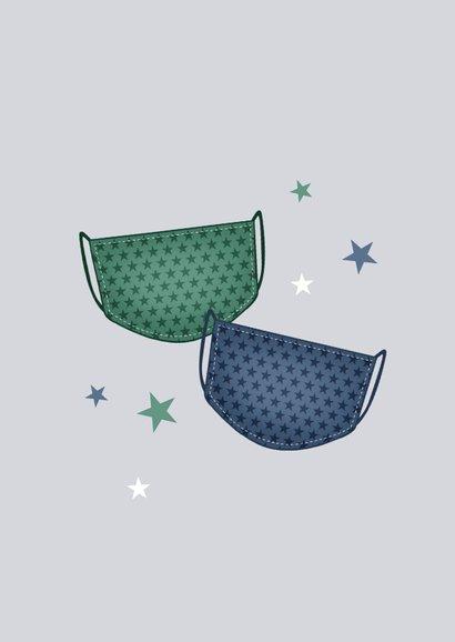 Zakelijke kerstkaart corona sterren mondkapjes 2
