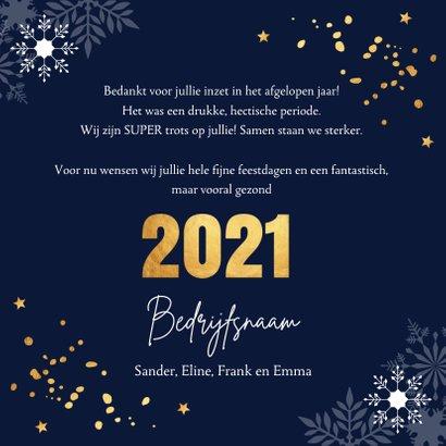 Zakelijke kerstkaart donkerblauw 2021 goudlook confetti 3
