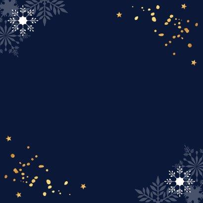 Zakelijke kerstkaart donkerblauw 2021 goudlook confetti Achterkant