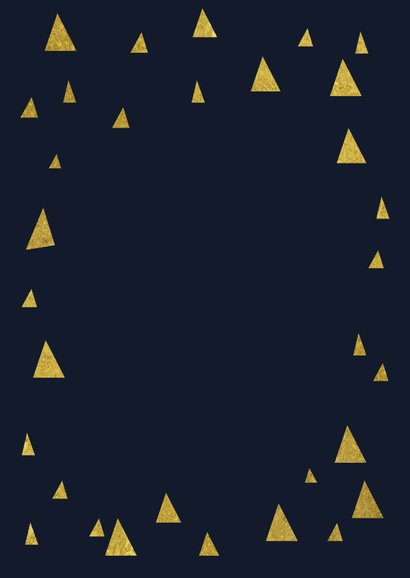 Zakelijke kerstkaart driehoekjes goud merry christmas foto Achterkant