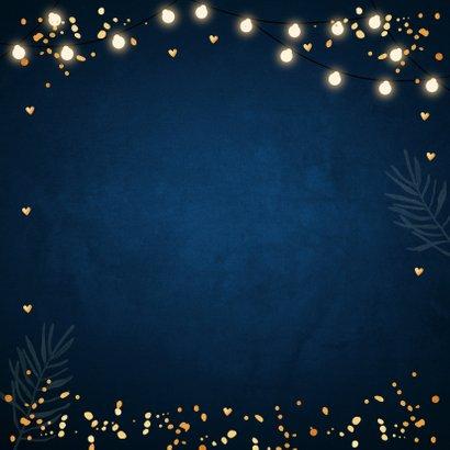 Zakelijke kerstkaart foto lampjes confetti goudlook 2