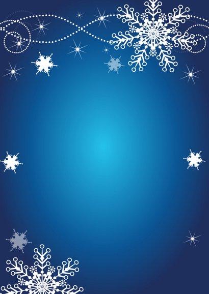 Zakelijke kerstkaart fotocollage blauw sneeuwvlokken 2