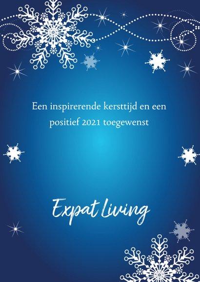 Zakelijke kerstkaart fotocollage blauw sneeuwvlokken 3
