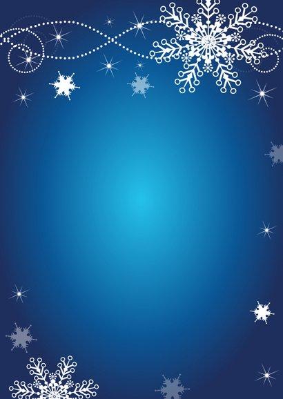 Zakelijke kerstkaart fotocollage blauw sneeuwvlokken Achterkant