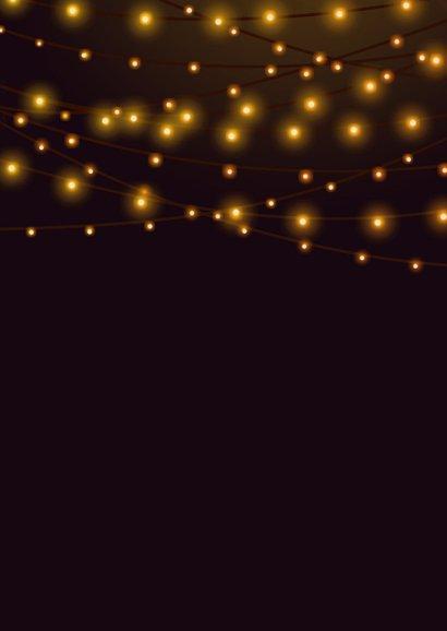 Zakelijke kerstkaart fotocollage in kerstboomvorm en lampjes Achterkant
