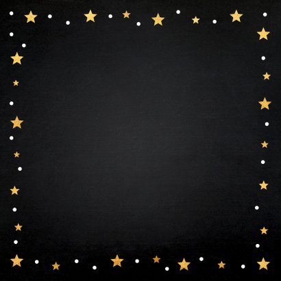 Zakelijke kerstkaart fotocollage zwart goudlook sterren Achterkant
