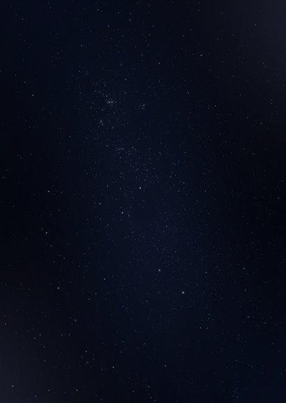 Zakelijke kerstkaart galaxy met gouden accenten en foto Achterkant