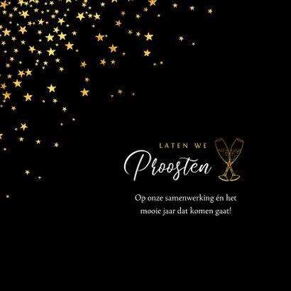 Zakelijke kerstkaart goud borrel fijne feestdagen sterren  2