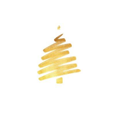 Zakelijke kerstkaart goud kerstboom fotocollage bouwbedrijf 2