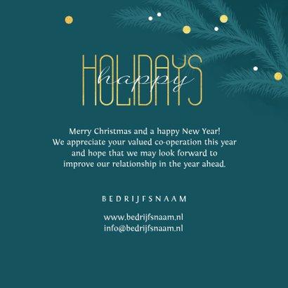 Zakelijke kerstkaart happy holidays goud takjes foto 3