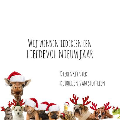Zakelijke kerstkaart 'heal the world' diverse dieren 3
