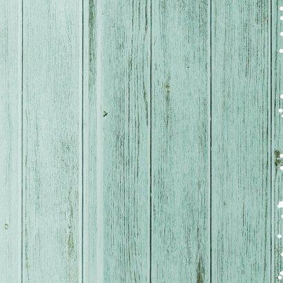 Zakelijke kerstkaart hout groen 2021 ster label Achterkant