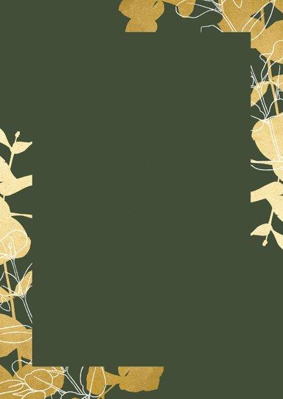 Zakelijke kerstkaart hovenier met gouden takjes en foto Achterkant