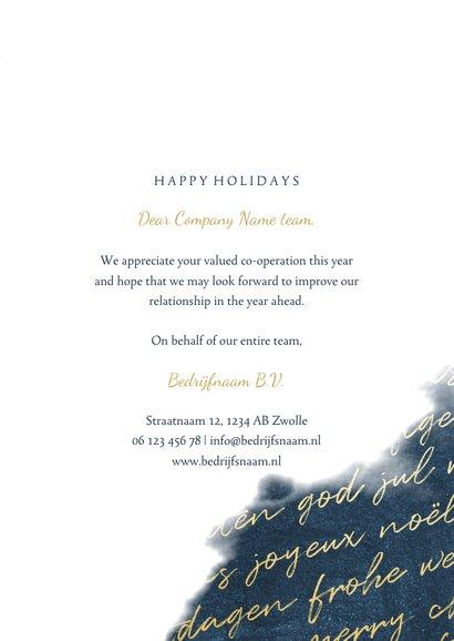 Zakelijke kerstkaart internationaal waterverf met foto goud 3