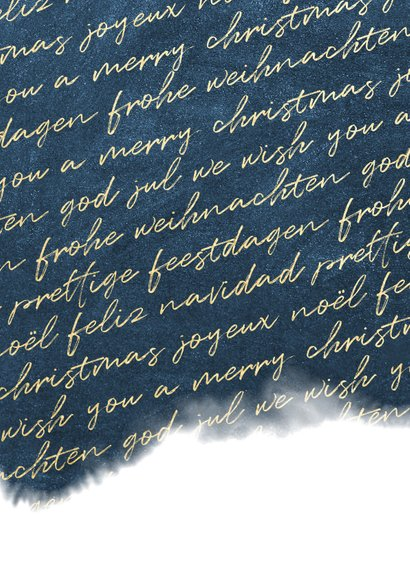 Zakelijke kerstkaart internationaal waterverf met foto goud Achterkant
