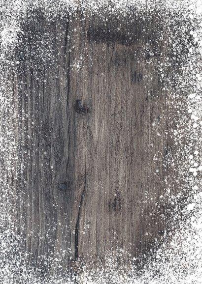 Zakelijke kerstkaart kerstster op hout met sneeuw 2021 Achterkant