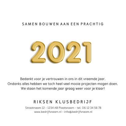 Zakelijke kerstkaart klusbedrijf jaartal 2021 moer  3