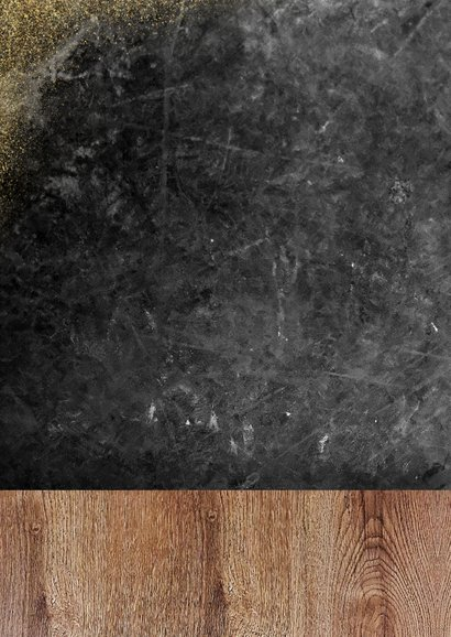 Zakelijke kerstkaart klusbedrijf met hout, beton en foto's Achterkant