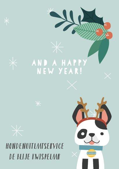 Zakelijke kerstkaart met illustratie van hondje en takjes 3