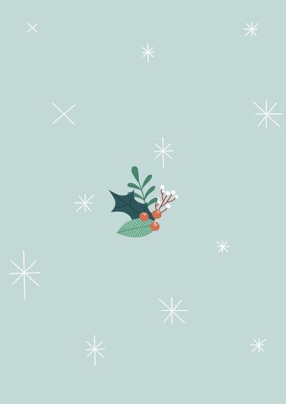 Zakelijke kerstkaart met illustratie van hondje en takjes Achterkant