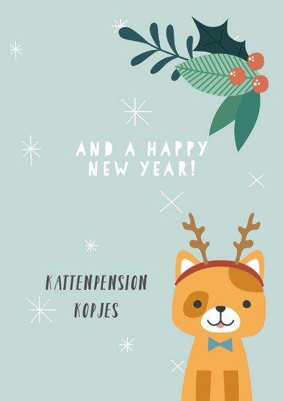 Zakelijke kerstkaart met illustratie van kat en takjes 3