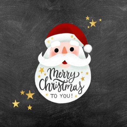 Zakelijke kerstkaart met kerstman, sterren & Merry Christmas 2