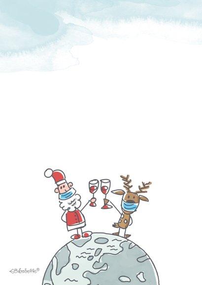 Zakelijke kerstkaart met vliegende kerstman en rendier 2