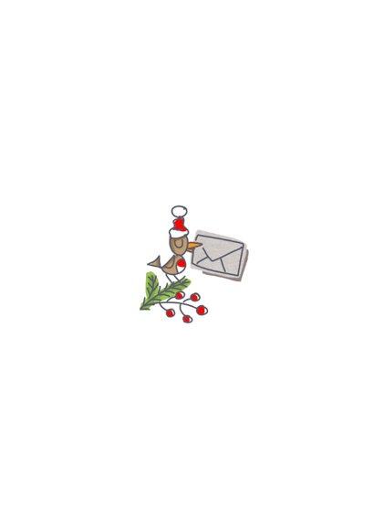 Zakelijke kerstkaart met vliegende kerstman en rendier Achterkant