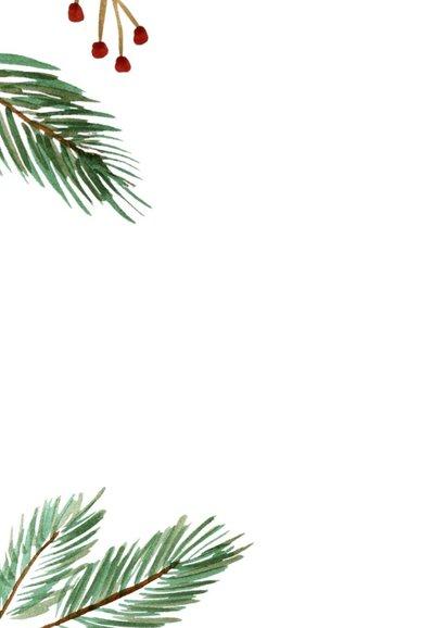Zakelijke kerstkaart met waterverf kersttakken en logo 2