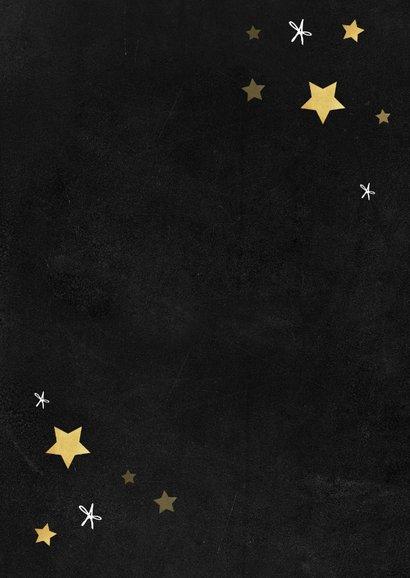 Zakelijke kerstkaart nieuw jaar nieuwe kansen goud sterren Achterkant