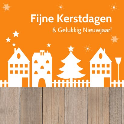 Zakelijke kerstkaart oranje huisjes 2