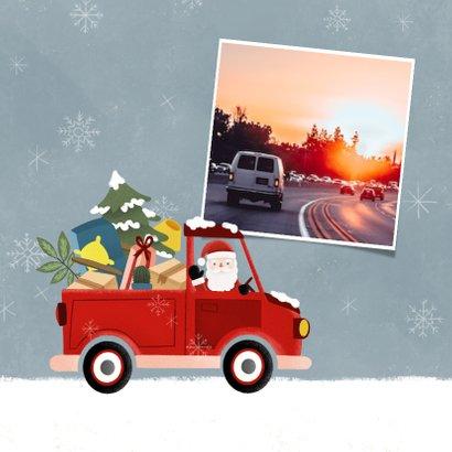 Zakelijke kerstkaart pickup truck kerstman en sneeuw 2