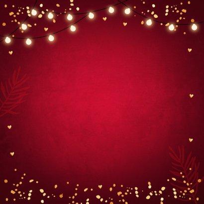 Zakelijke kerstkaart rood lampjes goudlook 2