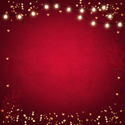 Zakelijke kerstkaart rood lampjes goudlook Achterkant