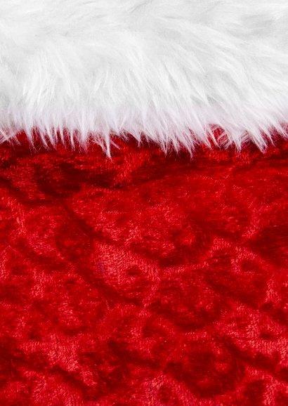 Zakelijke kerstkaart rood met label en foto Achterkant