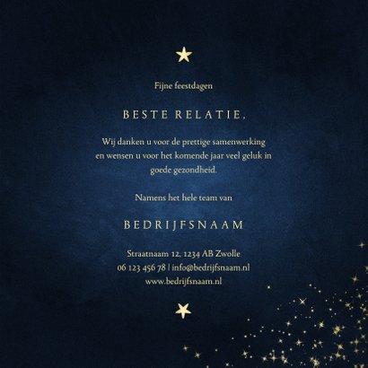 Zakelijke kerstkaart stay safe donkerblauw met sparkles 3
