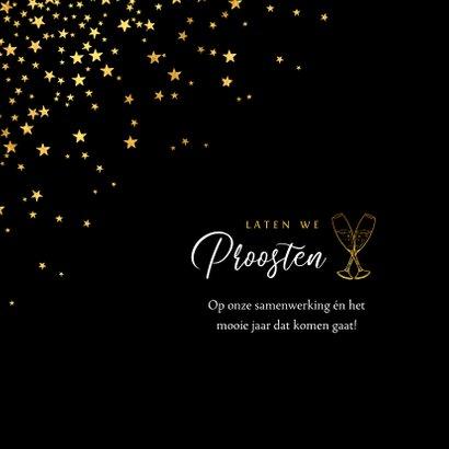 Zakelijke kerstkaart sterren goud kerstborrel uitnodiging 2