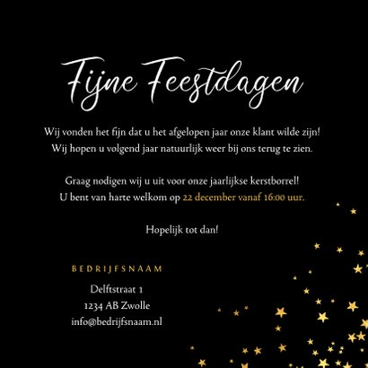Zakelijke kerstkaart sterren goud kerstborrel uitnodiging 3