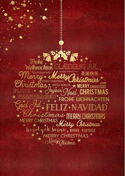 Zakelijke kerstkaart stijlvol best wishes rood met foto 2